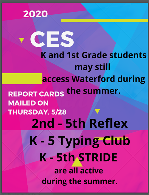 Report Cards were mailed on Thursday May twenty eighth. All programs are active during the summer.
