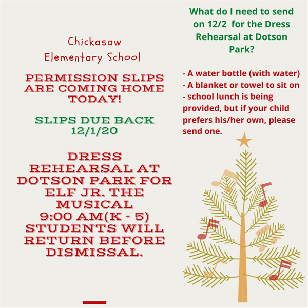 Important Announcement: ELF the Musical Dress Rehearsal