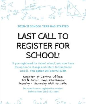 Last Call to Register for School